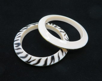 Vintage Pasadena Jewelry Bangles, Zebra Stripe and Cream Gold Edged Bracelets