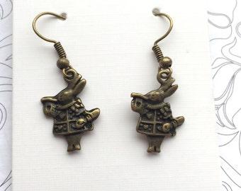 Bronze white rabbit alice in wonderland charm earrings