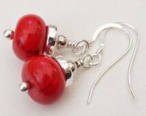 Red earrings, magnesite earrings, gemstone earrings, Greek ceramic earrings, red and silver earrings, red gemstone earrings, UK seller