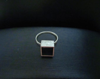 Ring cube made in Sterling Silver 925, geometric, modern style and minimalsta