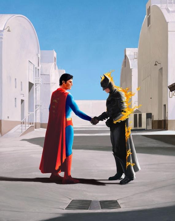 Superhero print Wish You Were Here - Pink Floyd Inspired Batman Superman Album Cover Parody