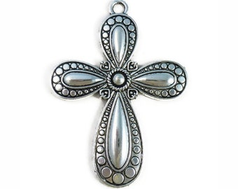 BULK 8 pcs - Ornate Silver Christian Cross Pendant Extra Large 73x53mm - by TIJC - SP0995B
