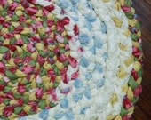 Pink and Green Round Handmade Nursury Decor Braided Rug