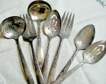 7 piece Wm. Rogers Hostess Set, 1958 Silverplate, Wildwood/Always Pattern Silver, 2 Forks, 2 Ladles, 2 slotted Spoons, Solid Spoon, Oneida