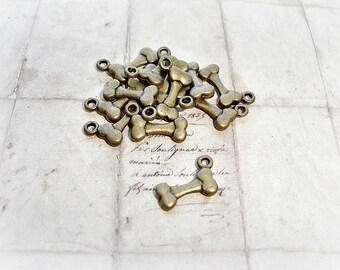 6 Antique Bronze Dog Bone Charms