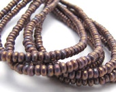 NEW Luster Opaque Bronzed Smoke 3mm Smooth Rondelle Czech Glass Beads 100pc #2878