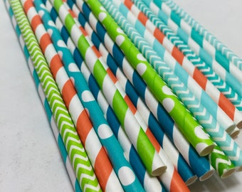 24 surf party beach ocean straw finding DORY green blues teal orange polka dots stripes chevron birthday baby shower decorations surfer girl