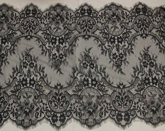 Delicate Black Floral Design Chantilly Bridal Lace Trim for Wedding, Gowns, Lingerie