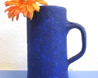 Kroesselbach German art pottery pitcher stunning blue lava glaze WGP