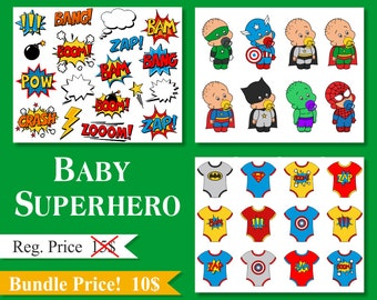 Baby Superhero Clip Art Collection, Superhero Onesies, Comic Book Words, Zap, Bang, Pow, Clipart Bundle - YDB002