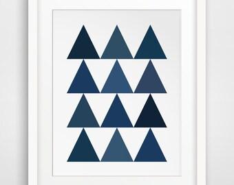 Navy Print, Geometric Wall Art, Geometric Triangles, Blue Wall Art, Printable Art, Wall Decor, Navy Art, Geometric Wall Prints