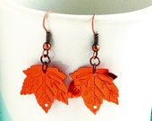 Copper leaf sequin earrings, shiny copper earrings, party earrings, autumn earrings