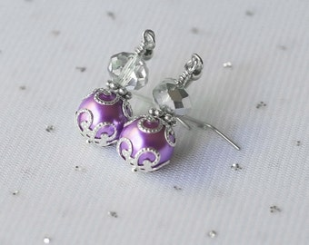 Purple Crystal Earrings, Purple Wedding Jewelry, Purple and Silver Bridesmaid Earrings, Bridesmaid Jewelry Gift, Purple Beaded Jewelry