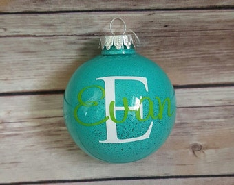 Personalized Glittered Christmas Ornament