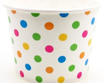 50 4 oz Polka Dot Paper Hot / Cold Ice Cream Cups