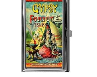 Business Card Holder, Metal Card Case, Mini Wallet, Credit Debit Card ID Wallet, Gypsy Fortune Teller Vintage Image Design
