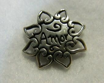 Vintage Sterling AMOR Pin