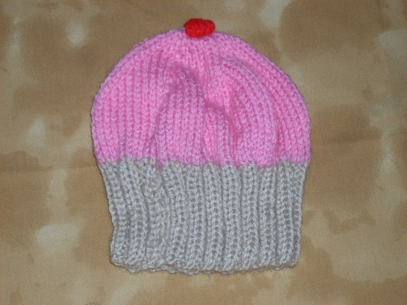 Knitting Patterns For Cupcake Wool : Cupcake hand knit hat Hand made wool hat by AlsCraftyCorner
