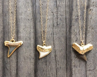 Gold Shark Tooth Necklace | 16 - 18 - 20 Inch 14k Gold Filled Chain Necklace