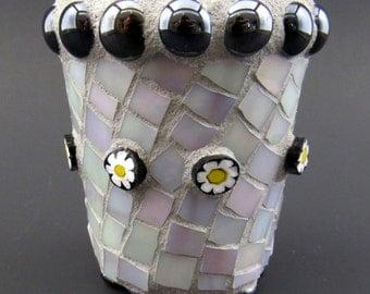 Small Iridescent White Glass Covered Mosaic Pot