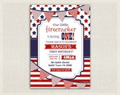 4th July First Birthday Invitation Girl Boy Invite gender neutral fourth of july patriot red white and blue stars and stripes party