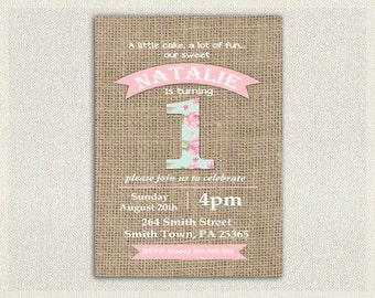 Girls Shabby Chic 1st Birthday Invitation Girls Pink Blue 1st 2nd 3rd Birthday Invites / Printable Invitation / Vintage Burlap (135)