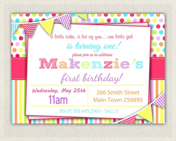 Girls 1st birthday rainbow invitation girls rainbow pink first il570xn stopboris Image collections