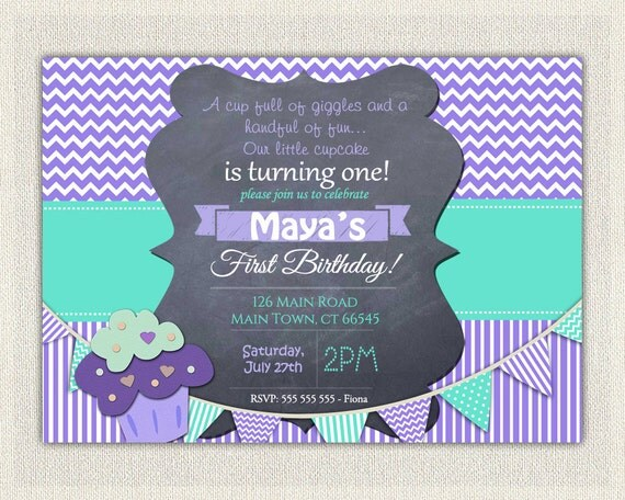 Girls St Birthday Invitation Printable First Birthday - 1st birthday invitations girl purple