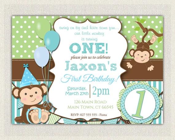 Boys Blue and Green Monkey 1st Birthday Invitation Printable
