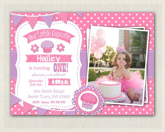 First Birthday Cupcake Invitation Girls St Birthday Invitation - 1st birthday invitations girl purple