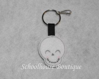 Smiling Skull Felt Zipper Pull, Felt Keychain Fob, Felt Key Ring, Felt Key Fob, Purse Accessory, Luggage Tag