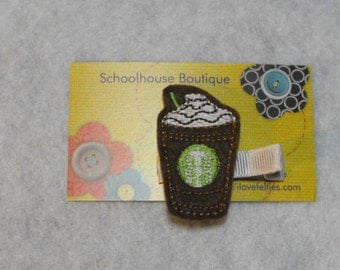 Double Chocolate Frappe Coffee Felt Hair Clips, Felties, Feltie Hair Clip, Felt Hairbow, Felt Hair Clip, Felt Hair Clippie, Party Favor