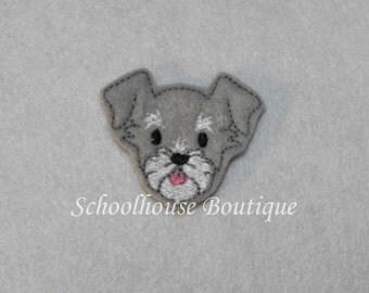 Schnauzer Puppy Dog felties, felt paper clip, badge reel, felt brooch, felt bookmark, planner clip, felt hair clip, key chain