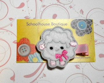 Sheep or Lamb Felt Hair Clips, Felties, Feltie Hair Clip, Felt Hairbow, Felt Hair Clip, Felt Hair Clippie, Party Favor