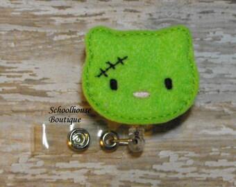 Zombie Kitty Cat felt badge reel, name badge holder, nurse badge, ID holder, badge reel, retractable badge clip, feltie badge reel