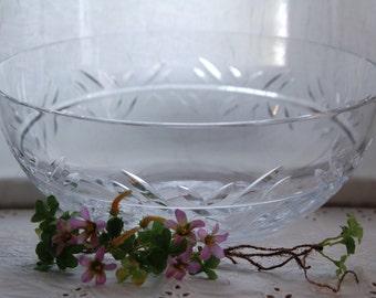 "Tiffany & Co Cut Crystal Bowl - Vintage 10.5"" Tiffany Bowl Salad Fruit Serving Bowl"