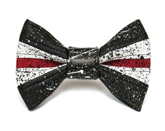 Red, Black, and White Leather Bow Tie