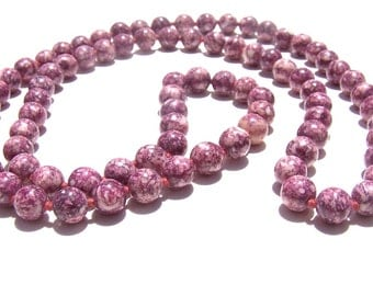 Pink Crazy Lace Agate Single Strand Necklace
