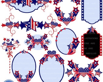 80%OFF Fourth of July clipart, Banners, embellishments, independence day clipart, 4th of july clipart, american, commercial use, AMB-922
