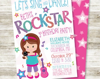 "Sweet Rocker Girl Birthday Invitation - Girl's Rock Star Birthday Party DIY Personalized Printable Invitation, 5"" x 7"""
