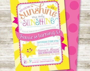 """Girl's Birthday Invitation - You are My Sunshine, My Only Sunshine Birthday Party DIY Printable Invitation in Pinks and Yellows, 5"""" x 7"""""""