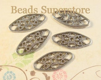 SALE 24 mm x 11 mm Antique Silver Oval Link / Connector  - Nickel Free, Lead Free and Cadmium Free - 10 pcs (LR42)