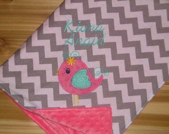 Birdie -Custom Monogrammed Baby Bird Minky Blanket - Grey Chevron with Pink Minky