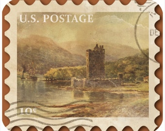 Mousepad-thick mouse pad-Vintage Postage Stamp River Fort - Free Shipping