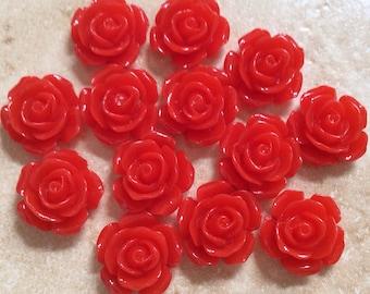 10 pcs 16 mm cabochon Flower,Red ,16 mm Red rose cabochon,16 red mm flower,Crimson cabochon flower,flower kit,Red rose flower,red rose