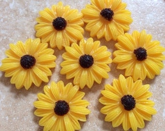 10 pcs 22 mm Cabochon Flowers.Golden,golden resin Flower.yellow sunflower,golden sunflower cabochon,golden resin flower,sunflower cabochon