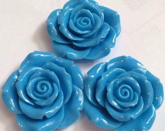 2 pcs 43 mm Blue Rose,43 mm Blue Cabochon Flowers.sky blue rose,blue Rose cabochon,big flower,flower kit,lilac rose flower,