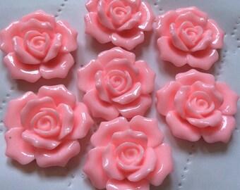2 pcs 30 mm Light PinkCabochon Flowers,30 mm light pink rose,bright pink cabochon Flower,aqua rose cabochon,28 mm Aqua rose,flat back rose,