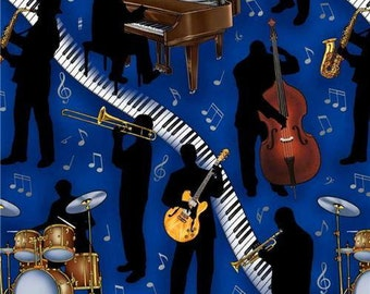 Half Metre Patchwork Quilting Fabric Elizabeth's Studio - Music Jazz 147