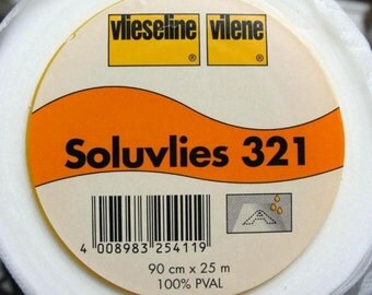 Half Metre Vlieseline® Vilene® Soluvlies 321 Solufleece Water Soluble Machine Embroidery Stabiliser